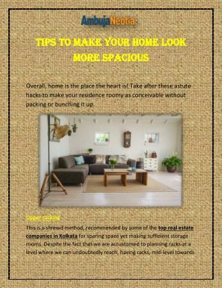 Tips to Make Your Home Look More Spacious