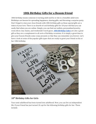18th Birthday Gifts for a Bosom friend