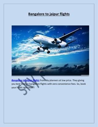 Bangalore to jaipur flights