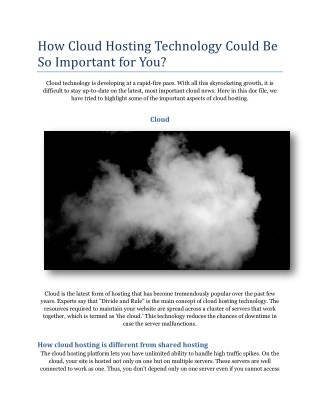 How Cloud Hosting Technology Could Be So Important for You?
