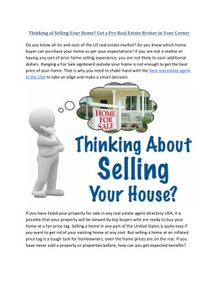 Get a Pro Real Estate Broker to Sell your Home