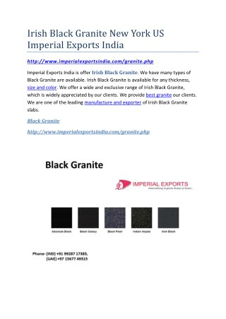 Irish Black Granite New York US Imperial Exports India