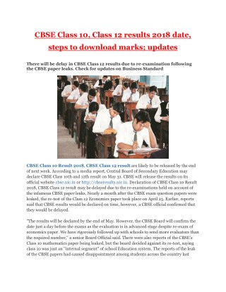 CBSE Class 10, Class 12 results 2018 date, steps to download marks; updates