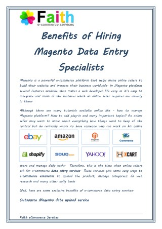 Why Hire Magento Data Entry Specialists