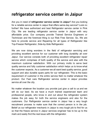 refrigerator service center in jaipur