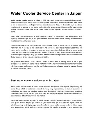 water cooler service center in jaipur