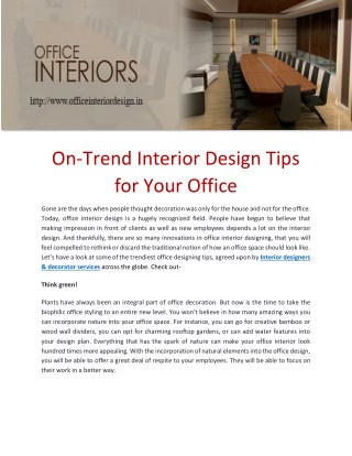 On-Trend Interior Design Tips for Your Office
