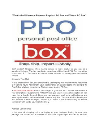 What's the Difference Between Physical PO Box and Virtual PO Box?