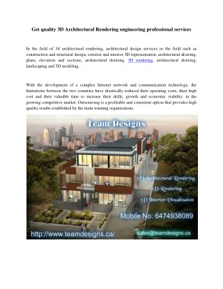 Get quality 3D Architectural Rendering engineering professional services