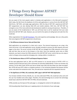 3 Things Every Beginner ASP.NET Developer Should Know