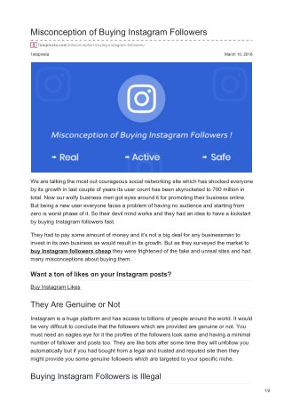 Misconception of Buying Instagram Followers