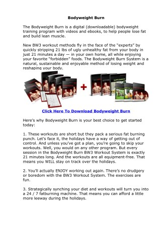 Body Weight Burn Free PDF EBook Download
