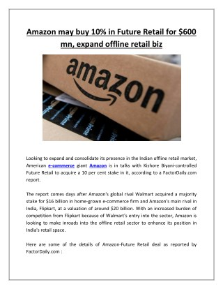 Amazon may buy 10% in future retail for $600 mn, expand offline retail biz