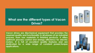 What Are The Different Types of Vacon Drives?