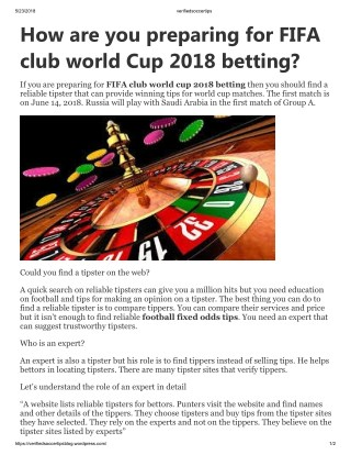 How are you preparing for FIFA club world Cup 2018 betting?