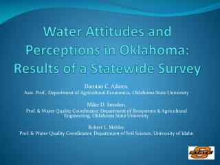 Water Attitudes and Perceptions in Oklahoma: Results of a Statewide Survey
