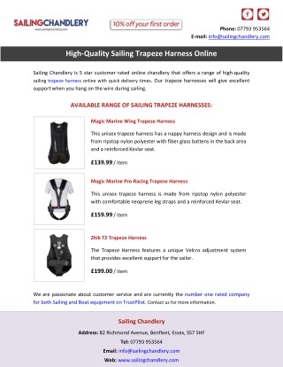 High-Quality Sailing Trapeze Harness Online