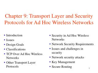 Chapter 9: Transport Layer and Security Protocols for Ad Hoc Wireless Networks