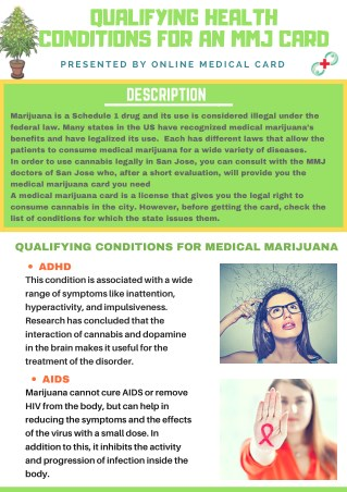 QUALIFYING HEALTH CONDITIONS FOR AN MMJ CARD