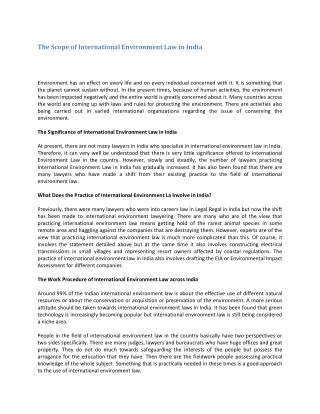 The Scope of International Environment Law in India