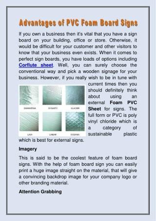 Advantages of PVC Foam Board Signs