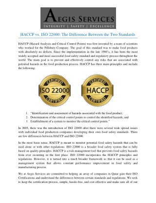 HACCP vs. ISO 22000: The Difference Between the Two Standards