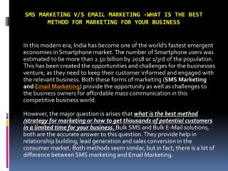 SMS marketing v/s email marketing -What is the best method for marketing for your business