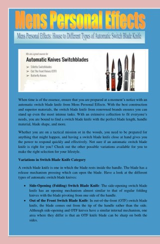 Mens Personal Effects: House to Different Types of Automatic Switch Blade Knife