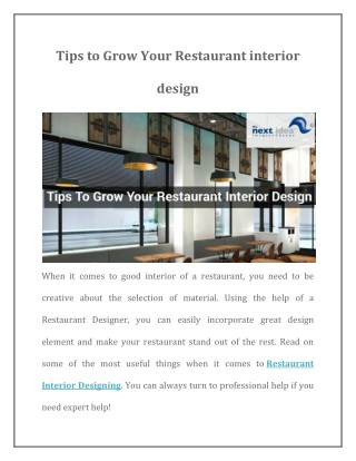 Tips to Grow Your Restaurant interior design