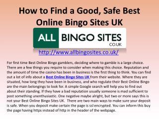 How to Find a Good, Safe Best Online Bingo Sites UK