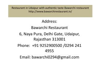 Restaurant in Udaipur with authentic taste Bawarchi restaurant