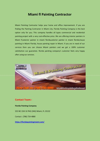 Miami fl Painting Contractor