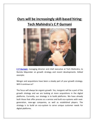 Ours will be increasingly skill-based hiring: Tech Mahindra's C P Gurnani | Business Standard News