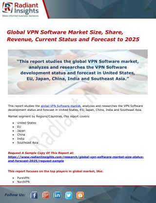 Global VPN Software Market Size, Share, Revenue, Current Status and Forecast to 2025