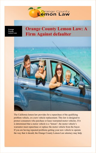 Orange County Lemon Law: A Firm Against defaulter