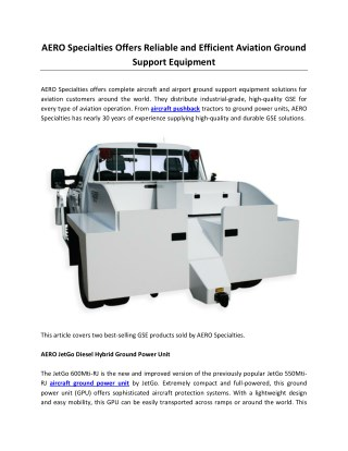 AERO Specialties Offers Reliable and Efficient Aviation Ground Support Equipment