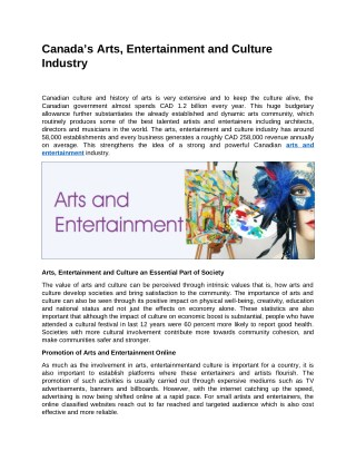 Canada's Arts, Entertainment and Culture Industry