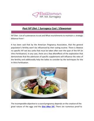 Post IVF Diet   Surrogacy Cost   Elawoman