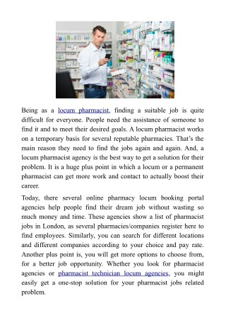 Finding a Permanent Pharmacist Job