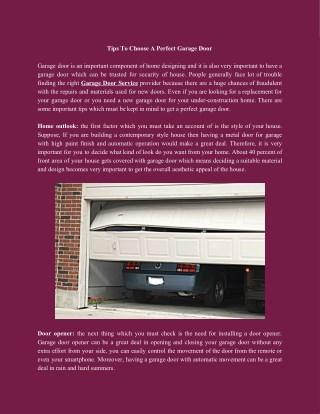 Tips To Choose A Perfect Garage Door