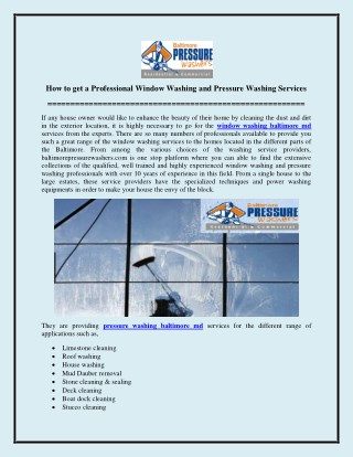How to get a Professional Window Washing and Pressure Washing Services