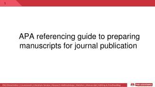 APA referencing Guide for manuscript publication
