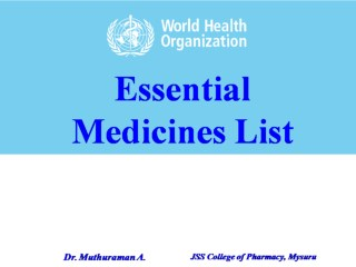 1.1.1 Concept of Essential medicine list