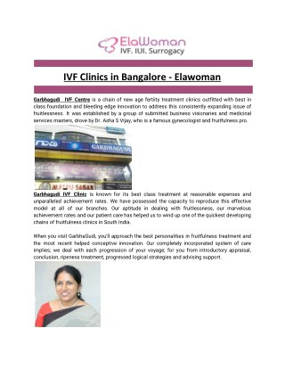 IVF Clinics in Bangalore - Elawoman