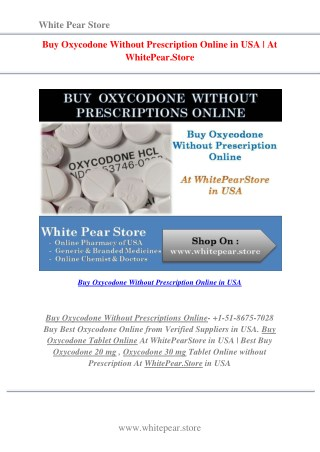 Buy Oxycodone Without Prescription Online in USA | At WhitePear.Store