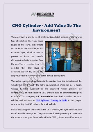 CNG Cylinder - Add Value To The Environment