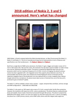 2018 Edition of Nokia 2, 3 and 5 Announced - Here's What Has Changed