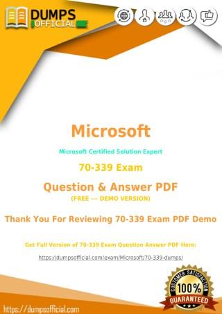 70-339 PDF [Updated] MCSE Exam PDF
