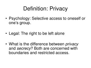 Definition: Privacy