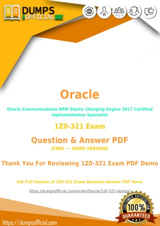 1Z0-321 Exam Questions - Prepare Oracle Communications BRM Elastic Charging Engine 2017 Certified Implementation Special